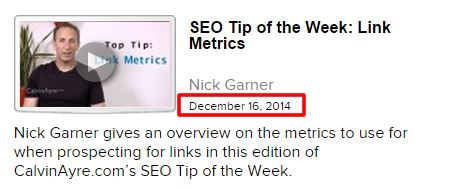 SEO Tip of the Week: Onsite Trust Optimisation – New content with real content date markers