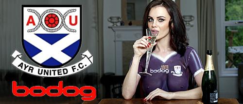 Bodog convinces Playboy model Emma Glover to model new Ayr United purple kit