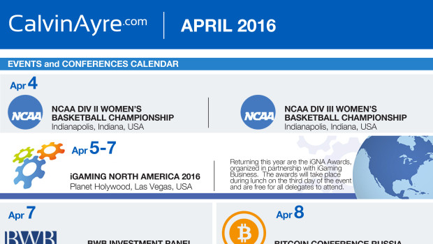 CalvinAyre.com Featured Conferences & Events: April 2016