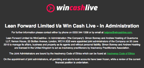Win Cash Live enters administration after failing to attract new investment
