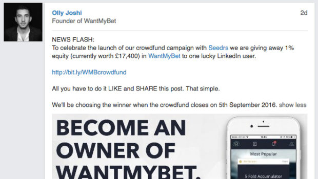 British football-betting website WantMyBet becomes the first startup to give away equity via social media