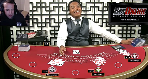 Video appears to show BetOnline live blackjack dealer cheating