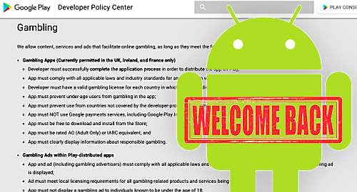 Google Play officially welcomes real-money gambling apps