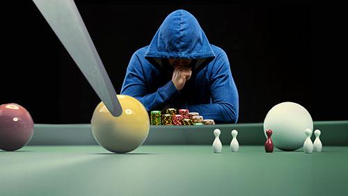 Trading places: a snooker player avoiding poker; a footballing jockey