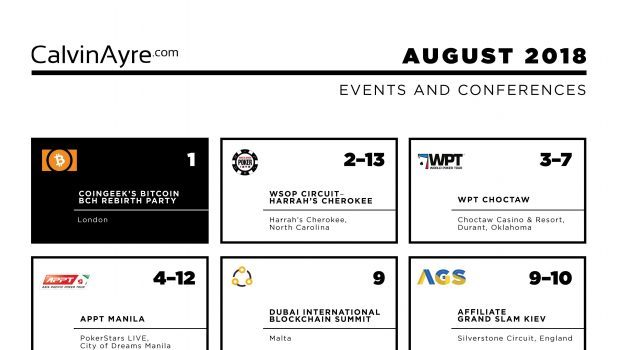 CalvinAyre.com August 2018 featured conferences & events