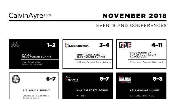 CalvinAyre.com November 2018 featured conferences & events