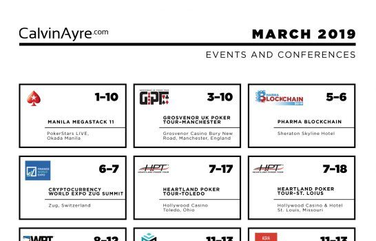 CalvinAyre.com March 2019 Featured Conferences & Events