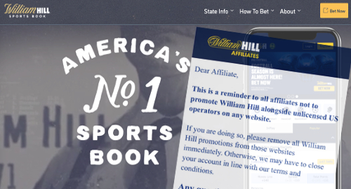 William Hill affiliates told to stop promoting US-facing sites