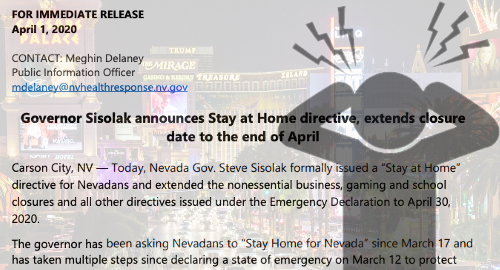 Nevada guv extends COVID-19 closures, casino stocks slide